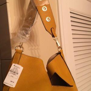 Neiman Marcus mustard yellow shoulder bag